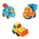 3er Set Baustellenfahrzeuge (Abschleppfahrzeug, Kipplaster, Bulldozer) - Tut Tut Baby Flitzer